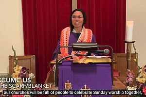preacher in pulpit with captions showing
